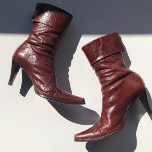 Shoes - WOMEN'S MEDIUM HEEL LEATHER FOLD OVER BOOTS